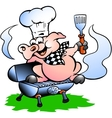 Hand-drawn of an Chef Pig standing on a BBQ barrel vector image