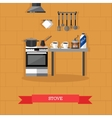 stove and kitchen utensils vector image