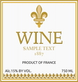 Wine label design vector image vector image