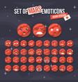 set of cute mars smiley mars emoticons flat vector image vector image