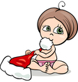 baby girl with santa hat cartoon vector image