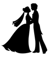Silhouettes of bride and groom vector image