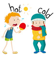 Opposite adjectives hot and cold vector image