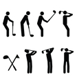golfer pictograms vector image