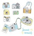 Cute hand drawn old and new cameras vector image