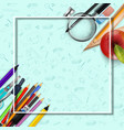 stationery and an apple background vector image