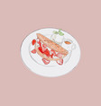 strawbeery waffle with fresh cream honey and vector image