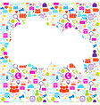 white cloud with social media icons background vector image