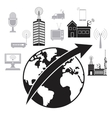 globe worldwide antenna remote transmission vector image