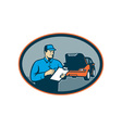 Automobile car repair mechanic with clipboard vector image
