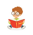 cute redhead boy wearing glasses reading a book vector image