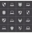 black icon shield icons set vector image