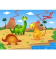 dinosaurs cartoon vector image