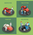 autoservice 4 isometric concept icons vector image