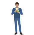 businessman with cash money businessman with cash vector image