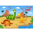 Dinosaurs cartoon vector image