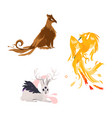 flat cartoom myhical animals set vector image