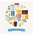 Flat Style Business Workplace and Office Objects vector image