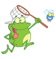 frog chasing fly with a net vector image