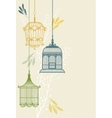 invitation card with birdcage vector image