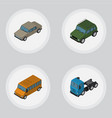 isometric automobile set of armored autobus auto vector image