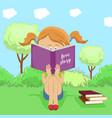 little girl reading interesting book in park vector image