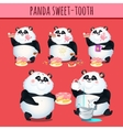 Panda sweet tooth eating cake character animation vector image