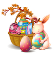 A basket full of eggs and a rabbit vector image vector image