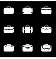 white briefcase icon set vector image vector image