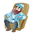 bearded man sitting on an easy chair vector image