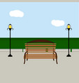 bench and streetlight vector image