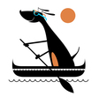 Dog on the boat vector image