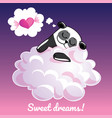 greeting card with a cartoon panda on the cloud vector image