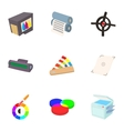 Printing icons set cartoon style vector image