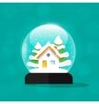 Snow globe house snowglobe home merry christmas vector image
