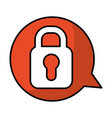 speech bubble with safe padlock isolated icon vector image