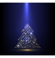 Gold and blue background with Christmas tree vector image vector image