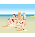 Graphic of a Family on the Beach vector image