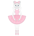cute cat in dress like ballerina Hand drawn vector image