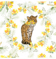 Retro style with flowers and animal vector image