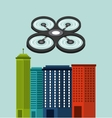 Cityscape buildings with drones flying vector image