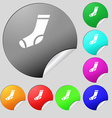 socks icon sign Set of eight multi colored round vector image