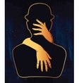Silhouette artwork of couple in a hug vector image