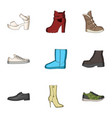 a set of icons on a variety of shoesdifferent vector image