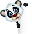 cute Baby panda holding blank sign vector image