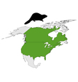 Distribution of canadian beaver vector image