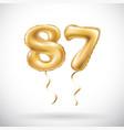 golden number 87 eighty seven metallic balloon vector image