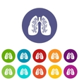 Lungs set icons vector image
