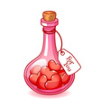 Stoppered pink glass bulb with a lot of hearts vector image