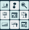 set of 9 board icons includes project analysis vector image